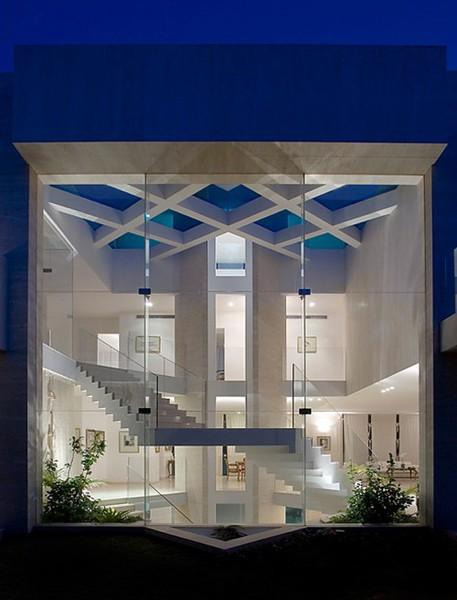 Architecturally beautiful glass wall interior