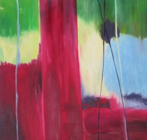 Latest modern oil painting  Red Path- By Laurie Lane