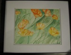 Orange Poppies- Watercolor on Paper